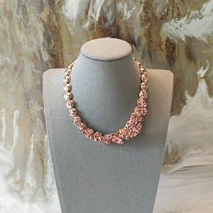 $2300 Dior Pink Crystal Flower Gold Necklace